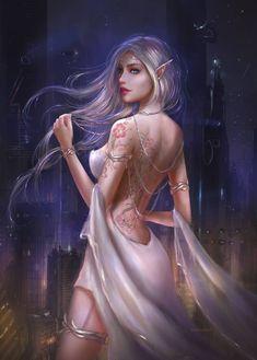 Fantasy Women, Fantasy Rpg, Fantasy Girl, Elven Princess, Wolf, Female Elf, Tumblr, Art Station, Shadowrun