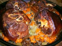 German Pork Hocks, my grandfather would have these cooking on the stove, with his beer simmering in the water. Pork Hocks And Sauerkraut Recipe, German Pork Hocks Recipe, Pork Hock Soup, Ham Soup, Ham Hock Recipes, Pork Recipes, Slow Cooker Recipes, Cooking Recipes, Cooking Tips