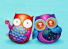 Buho arte  ave nocturna mañana buho  aves coloridas por AnnyaKaiArt, $18.00