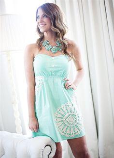 Beautiful, Embellished, Mint Strapless Dress #mint #strapless #sweetheart #dress #fashion #outfit #wedding #dat e #dinner #drinks #cute