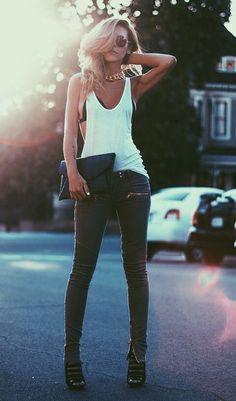 Very casual sexy!  White tee, bikini top and skinny jeans Women's spring fashion…