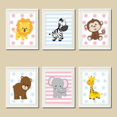 I wonder how difficult it would be to make these.... JUNGLE Nursery Wall Art ELEPHANT Giraffe Zebra  Set of 6 Prints Zoo Safari Animals Baby Boy Girl Twins Wall ART Jungle Decor Bedding Picture