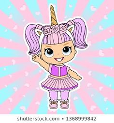 Vector doll Design for cute invitation card, t-shirt. Illustration little girl in unicorn dress and golden lol horn. Pink background with sunbeam and hearts. Magic fantasy world Doodle Frames, 3d Letters, Vintage Frames, Cupcake Toppers, Cute Pink Background, Doll Style, Lol Doll Cake, Emoji, Hot Pink