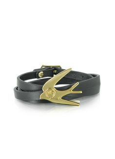 McQ Alexander McQueen Swallow Triple Wrap Leather Bracelet