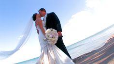 wedding beach kiss