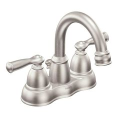 MOEN Banbury 4 in. Centerset 2-Handle High-Arc Bathroom Faucet in Spot Resist Nickel - CA84913SRN at The Home Depot
