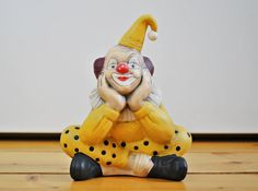 Vintage Ceramic Bisque Clown / Vibrant Colour / by VintageMedreana