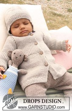 Baby Knitting Patterns DROPS jacket, pants and hat with rib and crochet teddy in &#...