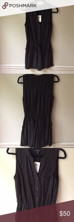 """NWT Lucky Brand black Tencel romper, sz XS. NWT Lucky Brand black drawstring romper, sleeveless, size XS. Tencel -- super soft!  Loose fit. Buttons up to split neckline; back pockets and front side pockets; left side chest pocket. Cuffed hem.  Approx. 4"""" inseam. Lucky Brand Other"""