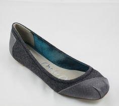 Toms Ballet Flats Grey Wool Silk Fancy!