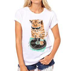 Encontrar Más Camisetas Información acerca de 2016 nuevas mujeres animal print t shirt DJ gatos impreso camisetas divertidas de manga corta kawaii camisetas tops camiseta, alta calidad camiseta de la máquina de impresión, China t-shirt de moda homme Proveedores, barato tee hugger de shining girls en Aliexpress.com