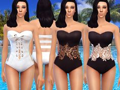 The Sims Resource: Black and white swimsuit by Pinkzombiecupcakes • Sims 4 Downloads