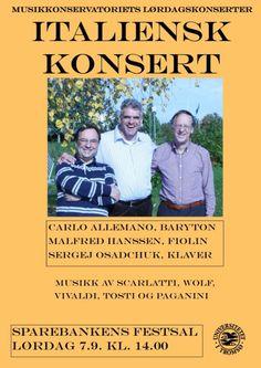 Italiensk konsert i Sparebankens Festsal lørdag 7. september kl. 14.00. Fri entré!