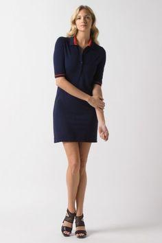 Lacoste 3/4 Sleeve Vintage Wash Pique Dress : Dresses