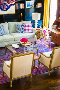 Caitlin Wilson Buffalo Check in Lilac Pillow featured in @huntedinterior's ONE ROOM CHALLENGE MAKEOVER