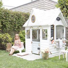 costco georgian manor playhouse revamped into scandinavian wooden white play house #kidsoutdoorplayhouse