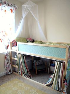 Kura bed hack - Love this little reading cubby. So easy to make with Ikea's Kura loft bed and a shower curtain and rod. Looks so tidy with the curtain closed.