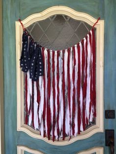 Summer Living: 12 Tips for Decorating Outdoors & Indoors American flag banner, perfect for door, mantle, or wall. 24 x 26 inches. Great for the of July The Best of home decoration in Americana Crafts, Patriotic Crafts, July Crafts, Summer Crafts, Holiday Crafts, Holiday Fun, Diy And Crafts, Holiday Ideas, Primitive Crafts