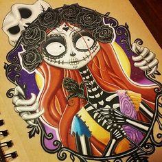 Sally [as a sugar skull feat. Jack] (As Sugar Skulls by Unknown) #TheNightmareBeforeChristmas