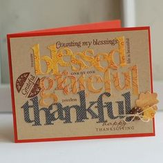 Thankful Word Art Card by Betsy Veldman for Papertrey Ink (August 2012)