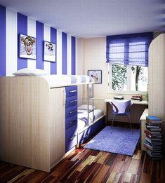 Jugendzimmer gestalten – 100 faszinierende Ideen - jugendzimmer design ideen gestreift in lila und weiß teppich