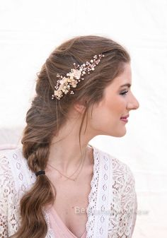 Rose Gold Bridal Hair Vine Wedding Headpiece by BeSomethingNew