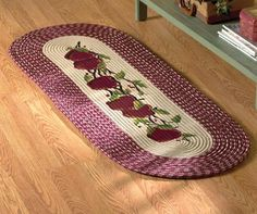 Braided Apple Burgundy Kitchen Rug Runner By Collections Etc     Product  Description: This Braided Rug Has An Appetizing Array Of Apples In The  Middle ...