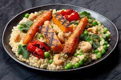 Roasted Vegetables, Veggies, Pearl Couscous Recipes, Non Stick Pan, Coriander, Pasta Salad, Spicy, Grains, Vegetarian
