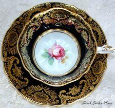 Vintage Paragon Black & Gold Gilt with Pink Rose ~ Paragon English Teacup and Saucer