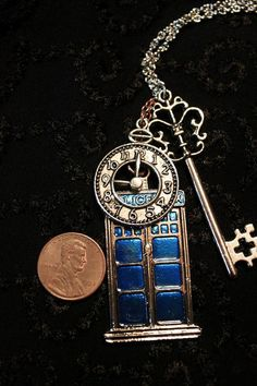 Doctor Who Tardis Necklace with Large Silver Key and by jmasserant, $25.00 I can has???? Please!!??