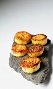 Eggplant Scallops with miso glaze. Vegan. Amazing!
