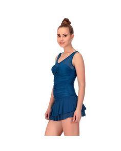 CHKOKKO WOMEN'S BLUE SOLID SWIMSUIT