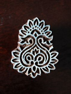 Hand Carved Indian Wood Stamp Block- Stylized Heart/floral Motif (reduced)