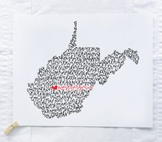 West Virginia Illustration Print by ManayunkCalligraphy on Etsy