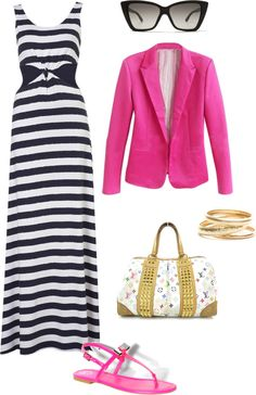 """Black Stripe Maxi & Pink Blazer"" by absolutpiink on Polyvore"