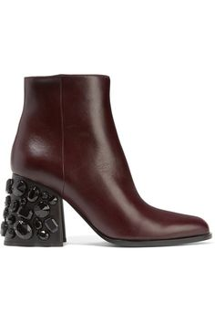 MARNI Embellished leather ankle boots. #marni #shoes #stiefel