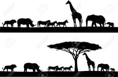 Safari Animal Silhouette Royalty Free Cliparts, Vectors, And Stock Illustration. Africa Silhouette, Animal Silhouette, Silhouette Vector, Silhouette Cameo, Elephant Silhouette, Silhouette Images, African Animals, African Safari, Afrika Tattoos