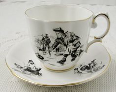 Royal Albert Curling Tea Cup and Saucer, Vintage Bone China