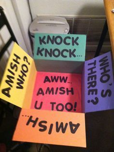 """""""Amish you too!"""" care package for our missionary Missionary Packages, Deployment Care Packages, Homemade Gifts, Diy Gifts, Knock Knock Jokes, Care Box, Youre My Person, Military Love, College Gifts"""