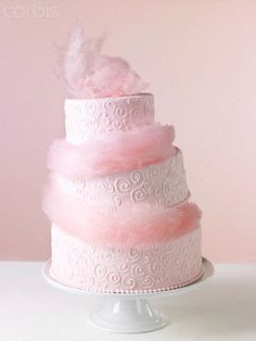 Cotton Candy Weddings-Pink Cotton Candy Wedding Cake