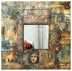 One of the first Altered workshops I ran was called Scrapyard Challenge, an Ikea mirror was altered to give the effect of scrap metal, her. Altered Canvas, Altered Art, Mixed Media Canvas, Mixed Media Collage, Inka Gold, Decoupage, Ikea Mirror, Mixed Media Scrapbooking, Steampunk