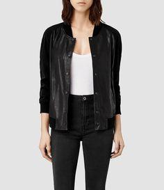 Womens Drey Leather Baseball Jacket (Black) - all saints