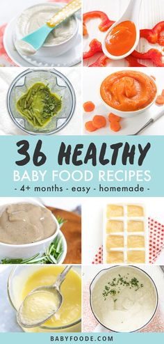 These 36 Healthy + Homemade Baby Food Recipes are beyond delicious purees that are great for baby's first bite. All are easy to make and freezer-friendly. Great baby food for 4 months and up - stage 1 baby food! Sweet Potato Baby Food, Chicken Baby Food, Sweet Potato Recipes, Avocado Baby Food, Healthy Baby Food, Food Baby, Baby Puree Recipes, Pureed Food Recipes, Instant Pot Baby Food