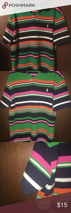 POLO Ralph LAUREN Size M Multi-colored Polo Shirt Excellent used condition!! 👕👕 Men's⭐️⭐️Multi-Colored--GREEN, NAVY, ORANGE, PINK And WHITE STRIPED 🚦🚦Size MEDIUM ⚡️⚡️no fading noted to navy which is common with the darker POLO colors🔥🔥 Polo by Ralph Lauren Shirts Polos