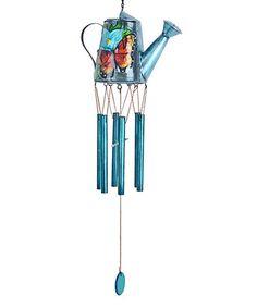 Look at this #zulilyfind! Blue Watering Can Wind Chime #zulilyfinds