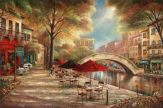 Ruane Manning Riverwalk Cafe print for sale. Shop for Ruane Manning Riverwalk Cafe painting and frame at discount price, ships in 24 hours. Canvas Artwork, Canvas Art Prints, Canvas Wall Art, Painting Frames, Painting Prints, Art Paintings, Framed Wall Art, Framed Art Prints, Cafe Posters