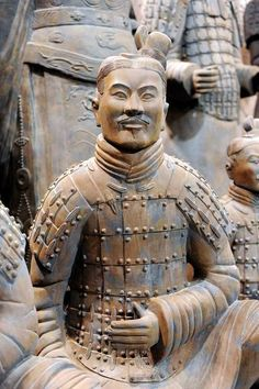 "Qin Shi Huang Statue of ""Terracotta Warriors and Horses"" deployed in defense of the mausoleum of the First Emperor of China Qin Shi Huang Terracotta Army, Military Figures, China Art, Ancient China, Terra Cotta, Antiquities, Prehistoric, Emperor, Ceramic Art"
