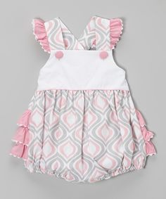 Love this Pink & Gray Arabesque Ruffle Bubble Bodysuit - Infant & Toddler by Stellybelly on #zulily! #zulilyfinds