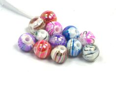 12 Multi color Acrylic swirl beads 8mm by DragonsTreasureTrove, $2.25