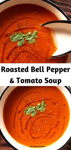 Roasted red pepper & tomato soup is perfect winter recipe. This is healthy tomato soup recipe. #soup, #souprecipe, #tomatosoup, #roastedtomatosoup, #redpeppersoup, #vegansoup, #healthysoup, #glutenfree, #weightlosssouprecipe, #detoxsouprecipe